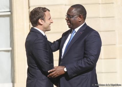 Emmanuel Macron and Macky Sall at the Elysee Palace on June 12