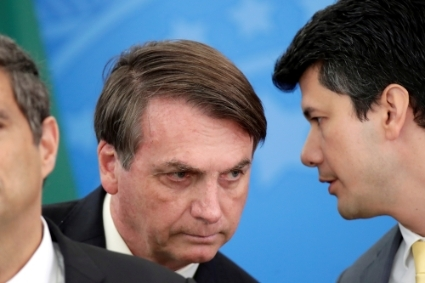 Brazilian President Jair Bolsonaro and BNDES president Gustavo Montezano, in March 2020.