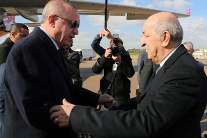 Recep Tayyip Erdogan and Abdelmadjid Tebboune, in January 2020.