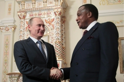 Valdimir Putin and Congo-B President Denis Sassou Nguesso during a meeting in Russia.