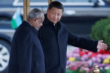 In debt with Beijing, Djibouti President Ismaïl Omar Guelleh, here with Xi Jinping.