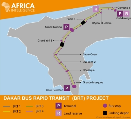 Map of the future rapid bus routes in the Dakar conurbation.