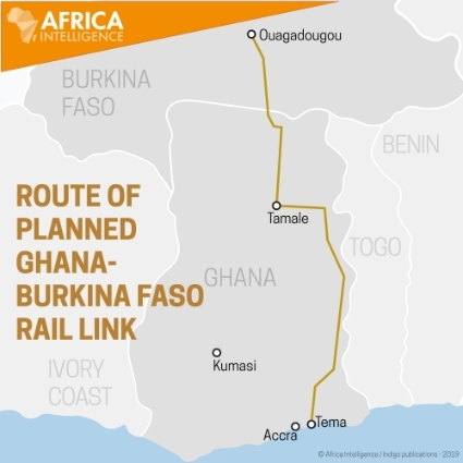 Map showing the route of the rail project linking Ghana to Burkina Faso.