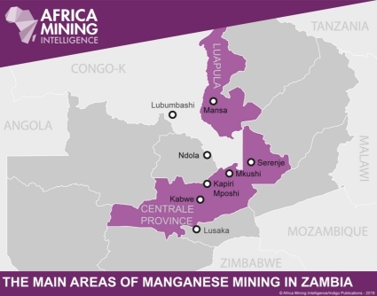 The main areas of manganese mining in Zambia.