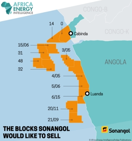 The blocks Sonangol would like to sell