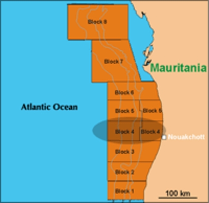 In Mauritania, Fusion Oil and Gas, Woodside, Hardman and Cliff Oil are associated on the block 4