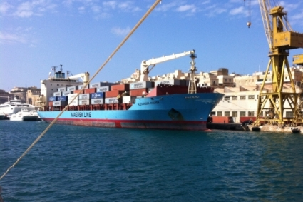 The 155-metre long container ship Alexander Maersk.