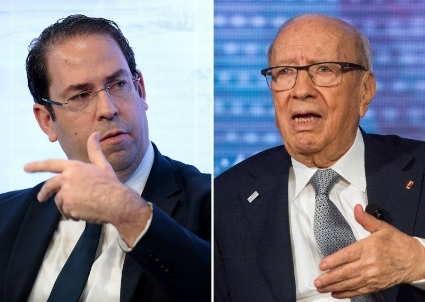 Youssef Chahed and Beji Caid Essebsi (BCE).