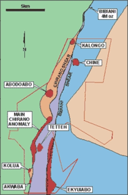 Simplified geology and main prospects, Chirano (Red Back Mining)