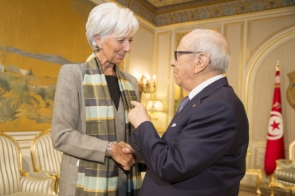 IMF Managing Director Lagarde meets with Tunisia's President Essebsi in Tunis.