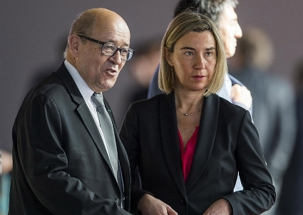 Jean-Yves Le Drian with Federica Mogherini.