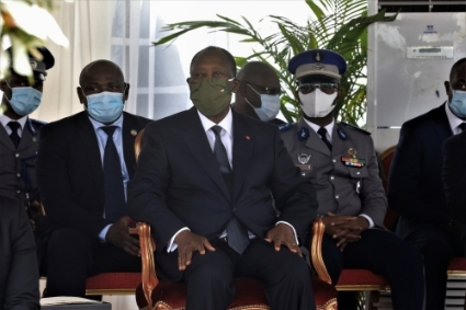 Ivory Coast President Alassane Ouattara attends a national tribute ceremony for dead soldiers, in Abidjan, Ivory Coast, July 2, 2020.
