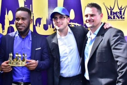 From left to right : Nigeria soccer player Jay-Jay Okocha with BetKing CEO Byron Petzer and Chief Operations Officer Neil Bothma.