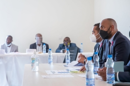 Domestic debt task force meeting chaired by Nouredin Bongo (far right).