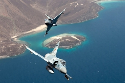 French Mirage fighter jets flying over Djibouti.