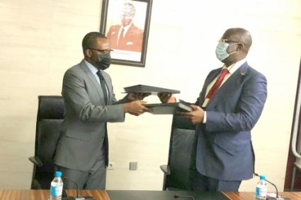 Equatorial Guinea's Hydrocarbons Minister Gabriel Obiang Lima and OPEC envoy Timipre Sylva, 18 February 2021.