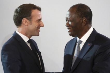 Emmanuel Macron and Alassane Ouattara in Ivory Coast in December 2019.