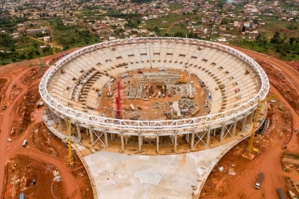 The Paul Biya stadium construction site.