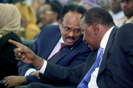 Somalia and Kenya heads of state Mohamed Abdullahi Mohamed aka Farmajo (left) and Uhuru Kenyatta.