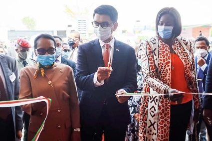 Madagascan President Andry Rajoelina during the inauguration of the Pharmalagasy factory, 3 October 2020.
