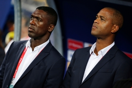 Former Cameroon coach Clarence Seedorf (left) and former assistant coach Patrick Kluivert during the 2019 African Cup of Nations.