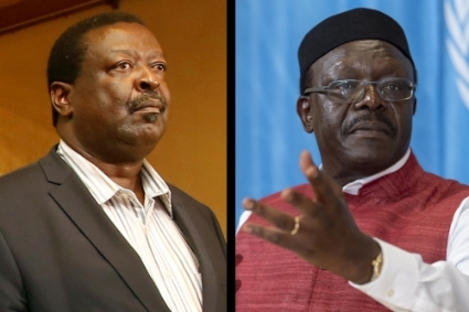 Musalia Mudavadi (left) and Mukhisa Kituyi (right) are positioning themselves to replace Raila Odinga as Uhuru Kenyatta's runner-up.