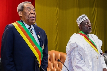 Marcel Niat Njifenji, Speaker of the Senate with Cavaye Yeguie Djibril, President of the National Assembly (left to right), on March 6, 2018 in Yaounde.