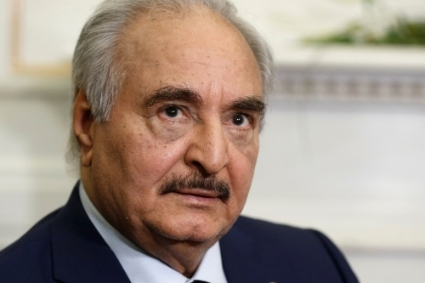 The Commander of the Libyan National Army, Khalifa Haftar.
