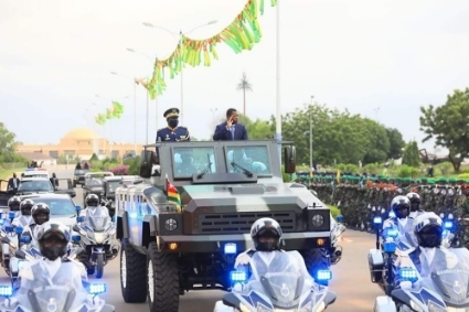 Togolese President Faure Gnassingbé aboard a new Mamba Mk 7 during an Independence Day parade.