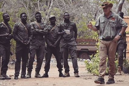 Rory Young, founder of Chengeta Wildlife, securing a ranger team in April 2021.