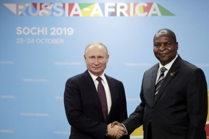 Central African President Faustin-Archange Touadéra and his Russian counterpart Vladimir Putin at the 2019 Russia-Africa summit in Sochi.