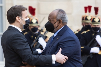 French President Emmanuel Macron with his Djiboutian counterpart Ismail Omar Guelleh (IOG).