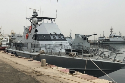 The Shaldag MK II patrol booat Soungrougrou, delivered to the port of Dakar in 2019.