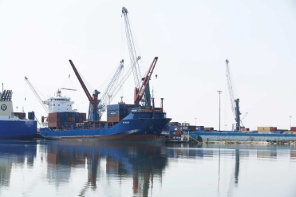 View of containers at a loading terminal in the port of Rades in Tunis.