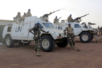 Chadian peacekeepers stand guard at the MINUSMA peacekeeping base in Kidal, Mali, July 22, 2015.