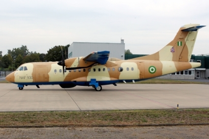 The NAF ATR 42-500 MP reconnaissance aircraft immobilized in Germany at RAS.