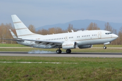The Boeing 737 registering as P4-BBJ, frequently used by Sylvia Bongo.