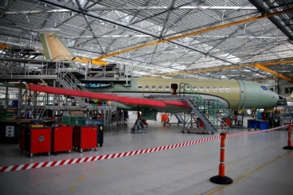 A Falcon 7X aircraft in the factory of French aircraft manufacturer Dassault Aviation in Merignac near Bordeaux.