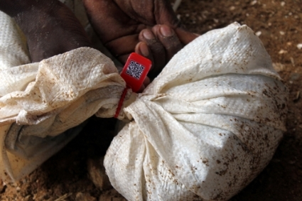 A bag of tantalum from the Gatumba mine in Rwanda sealed in after being tagged and entered into the blockchain traceability system.