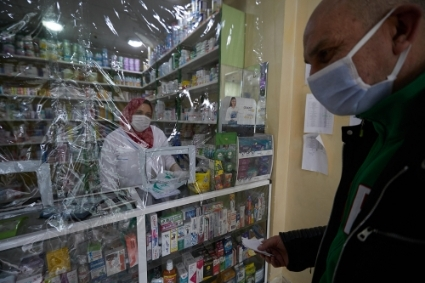 A pharmacy in Algiers in the midst of the Covid-19 pandemic.