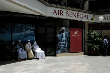 An Air Senegal point of sale in Dakar, shortly after the airport reopened on July 15.