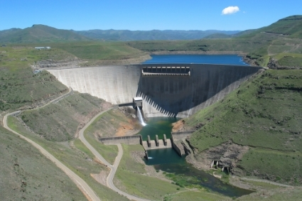 Katse dam, in Lesotho, completed in 1996 under Phase 1 of the Lesotho Highlands Water Project.