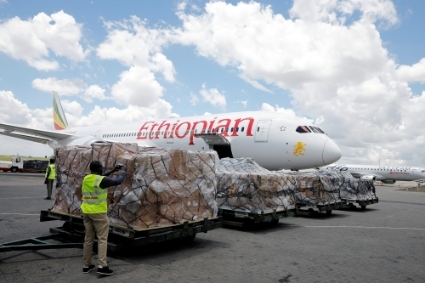 A delivery to Nairobi of medical equipment donated by China, March 24, 2020.