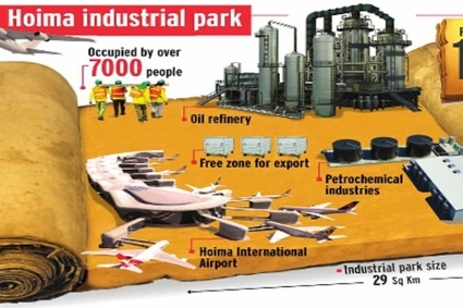 Outlines of the Kabaale industrial park in Hoima, home of the oil refinery.