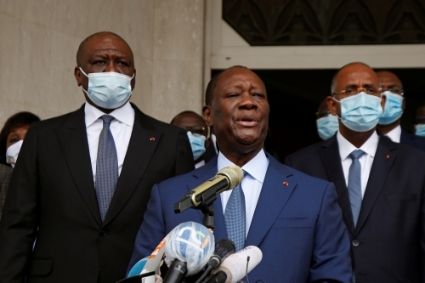 Alassane Ouattara after submitting the application for October presidential election, 24 August 2020.