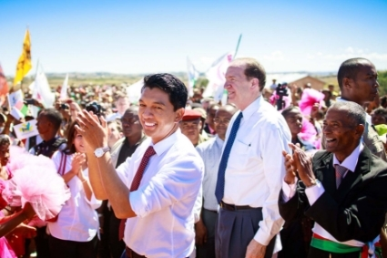 Madagascan President Andry Rajoelina and World Bank President David Malpass in April 2019.