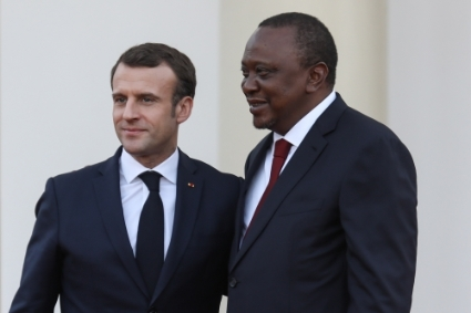Emmanuel Macron and Uhuru Kenyatta in Naibrobi in April 2019.