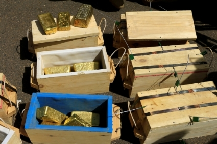 Gold bars seized from a plane by Sudanese Rapid Support Forces at Khartoum Airport are displayed in an investigation into possible smuggling, in Khartoum, Sudan May 9, 2019.