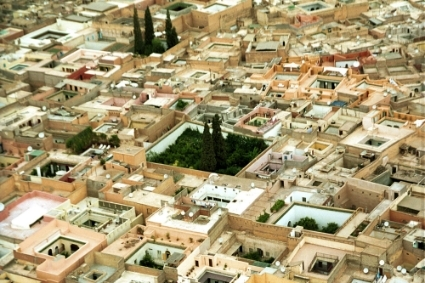 Aerial view of the Marrakech medina.