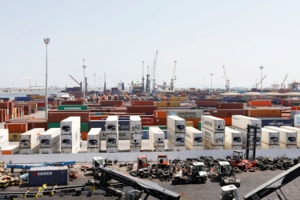 View of containers at a loading terminal in the port of Radès in Tunis.